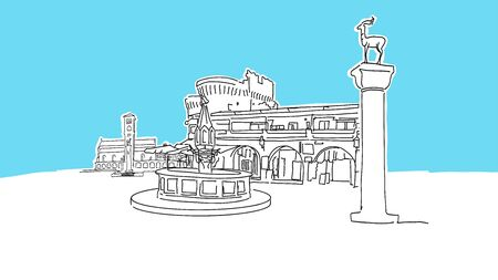 Rhodes Greece Lineart Vector Sketch. and Drawn Illustration on blue background.