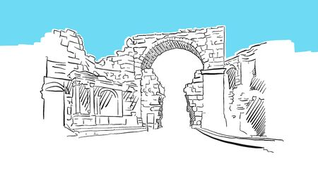 Vespasian Gate, Side Turkey Lineart Vector Sketch. and Drawn Illustration on blue background.