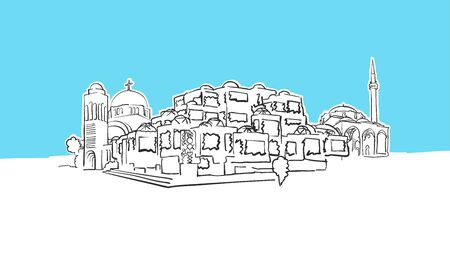 Pristina Kosovo Lineart Vector Sketch. and Drawn Illustration on blue background.