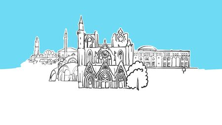 Skopje Macedonia Lineart Vector Sketch. and Drawn Illustration on blue background.