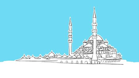 Yeni Camii, Istanbul  Lineart Vector Sketch. and Drawn Illustration on blue background.