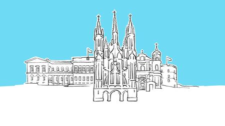 Vilnius Lithuania Lineart Vector Sketch. and Drawn Illustration on blue background. Ilustração