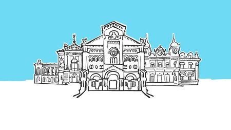 Monaco Lineart Vector Sketch. and Drawn Illustration on blue background. Illustration