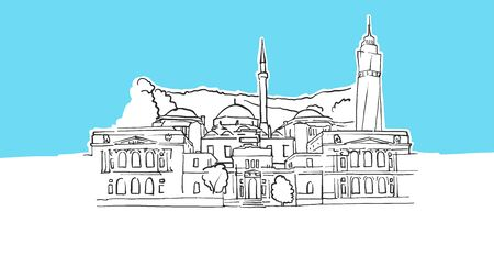 Sarajevo Bosnia And Herzegovina Lineart Vector Sketch. and Drawn Illustration on blue background.