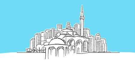 Historic Mosque Lineart Vector Sketch. and Drawn Illustration on blue background.