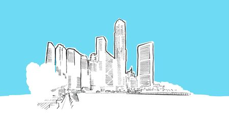 Singapore Lineart Vector Sketch. and Drawn Illustration on blue background. Vektoros illusztráció