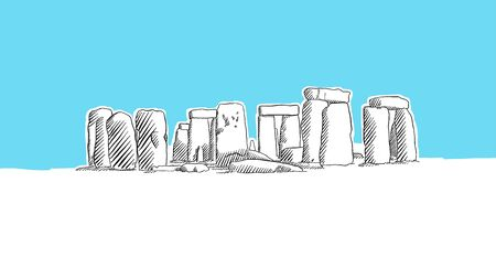 Stonehenge England Lineart Vector Sketch. and Drawn Illustration on blue background.