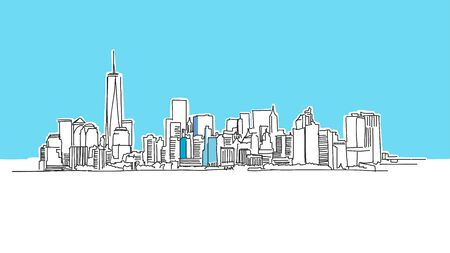 New York City Lineart Vector Sketch. and Drawn Illustration on blue background.