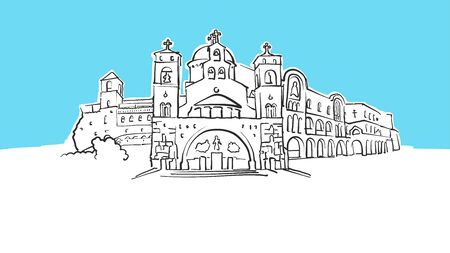 Podgorica Montenegro Lineart Vector Sketch. and Drawn Illustration on blue background.