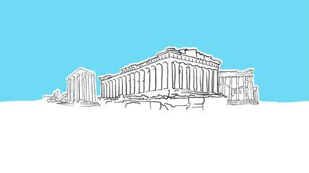 Athen Griechenland Lineart-Vektor-Skizze. und gezeichnete Illustration auf blauem Hintergrund.