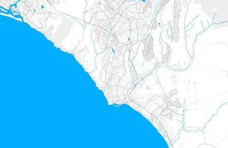 Rich detailed vector area map of Laguna Niguel, California, USA. Map template for home decor.