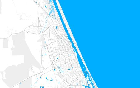 Rich detailed vector area map of Daytona Beach, Florida, USA. Map template for home decor. Ilustração