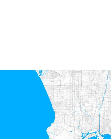 Rich detailed vector area map of Redondo Beach, California, USA. Map template for home decor.