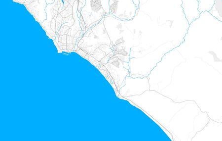 Rich detailed vector area map of San Clemente, California, USA. Map template for home decor.