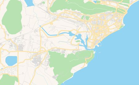 Printable street map of Visakhapatnam, State Andhra Pradesh, India. Map template for business use.