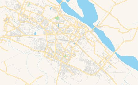 Printable street map of Kanpur, State Uttar Pradesh, India. Map template for business use. Иллюстрация
