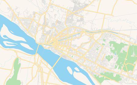 Printable street map of Vijayawada, State Andhra Pradesh, India. Map template for business use.