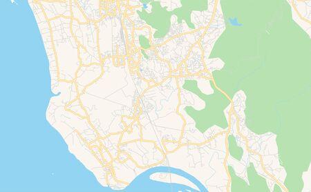 Printable street map of Vasai-Virar, State Maharashtra, India. Map template for business use. Иллюстрация
