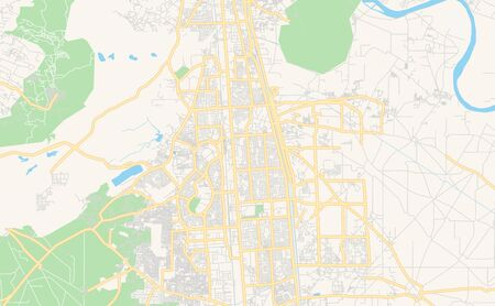 Printable street map of Faridabad, State Haryana, India. Map template for business use.  イラスト・ベクター素材