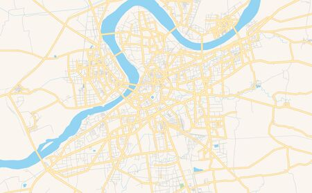 Printable street map of Surat, State Gujarat, India. Map template for business use.
