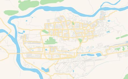 Printable street map of Rourkela, State Odisha, India. Map template for business use.