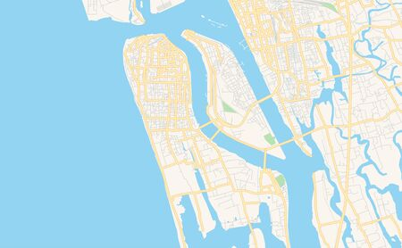 Printable street map of Kochi, State Kerala, India. Map template for business use. Иллюстрация