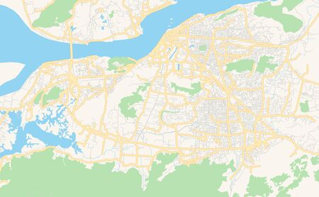 Printable street map of Guwahati, State Assam, India. Map template for business use.