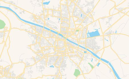 Printable street map of Madurai, State Tamil Nadu, India. Map template for business use.