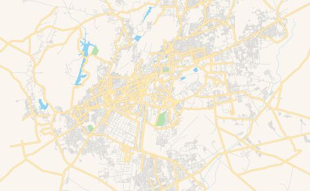 Printable street map of Jodhpur, State Rajasthan, India. Map template for business use.