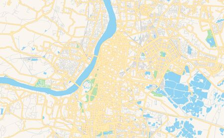 Printable street map of Kolkata, State West Bengal, India. Map template for business use.