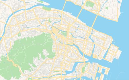 Printable street map of Tokushima, Prefecture  Tokushima, Japan. Map template for business use.