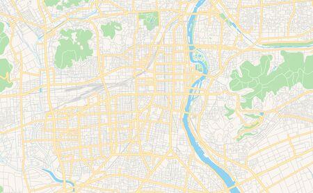 Printable street map of Okayama, Prefecture  Okayama, Japan. Map template for business use.