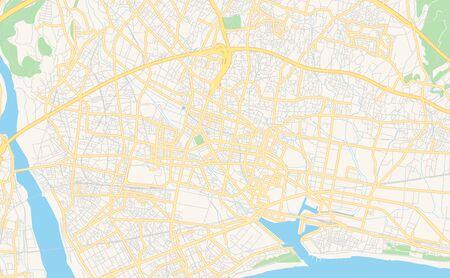 Printable street map of Fuji, Prefecture Shizuoka, Japan. Map template for business use.
