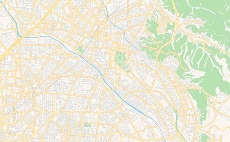 Printable street map of Kanazawa, Prefecture Ishikawa, Japan. Map template for business use.