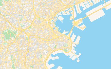 Printable street map of Yokohama, Prefecture  Kanagawa, Japan. Map template for business use. Ilustracja