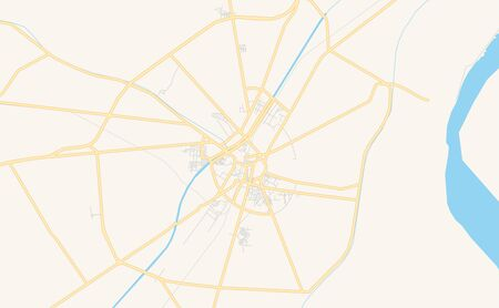 Printable street map of Larkana, Province  Sindh, Pakistan. Map template for business use.