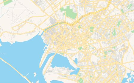 Printable street map of Karachi, Province  Sindh, Pakistan. Map template for business use.