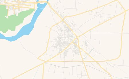 Printable street map of Chiniot, Province  Punjab, Pakistan. Map template for business use. Çizim
