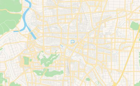 Printable street map of Fukui, Prefecture  Fukui, Japan. Map template for business use. Ilustracja