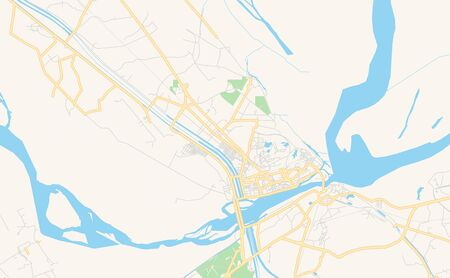 Printable street map of Sukkur, Province  Sindh, Pakistan. Map template for business use. Çizim