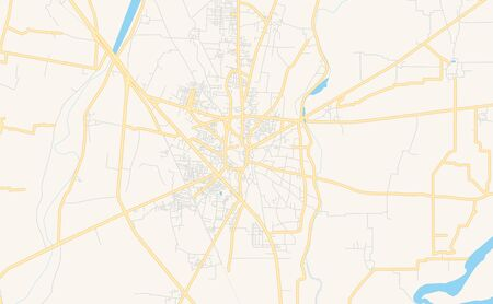 Printable street map of Gujrat, Province  Punjab, Pakistan. Map template for business use.