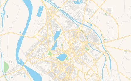 Printable street map of Hyderabad, Province  Sindh, Pakistan. Map template for business use.