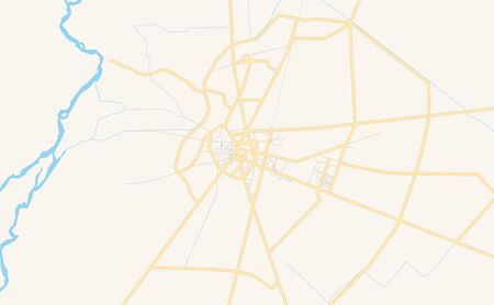 Printable street map of Jhang, Province  Punjab, Pakistan. Map template for business use.