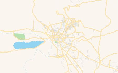 Printable street map of Kohat, Province  Khyber Pakhtunkhwa, Pakistan. Map template for business use. Çizim