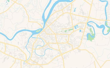 Printable street map of Surat Thani, Province Surat Thani, Thailand. Map template for business use.