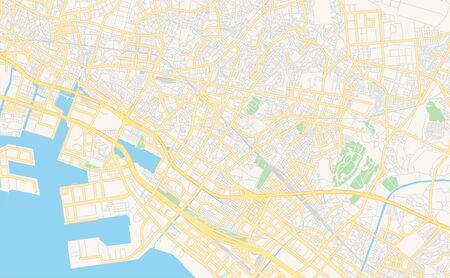 Printable street map of Narashino, Prefecture Chiba, Japan. Map template for business use.
