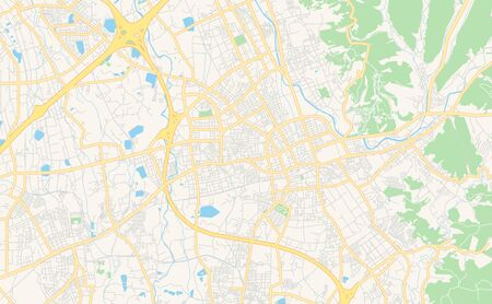 Printable street map of Taoyuan, Taiwan. Map template for business use.