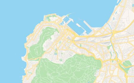 Printable street map of Cape Town, South Africa. Map template for business use.
