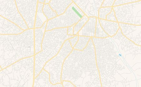 Printable street map of Aba, Nigeria. Map template for business use.
