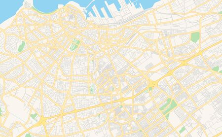 Printable street map of Casablanca, Morocco. Map template for business use.